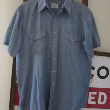 80s Big Mac Short Sleeve Chambray Western Workshirt w/ Orange Stitching, Men's XL-XXL  // Vintage Work Shirt