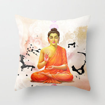 Buddha Throw Pillow by Olga Whass
