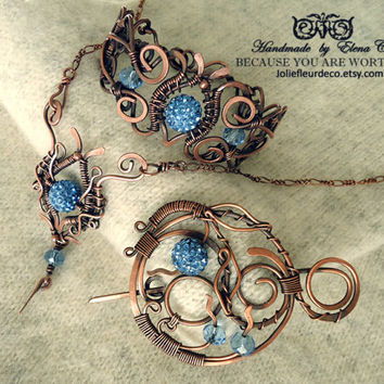 Copper wire Jewelry Wire wrapped jewelry Copper wire pendant with blue beads Copper pendant Necklace Sky blue pendant Gift for women