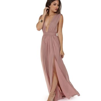 Araceli Mauve Chiffon Dress