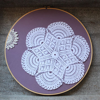 Cottage Chic Doily Art Upcycled Purple Fabric Embroidery Hoop Wall Hanging Decor