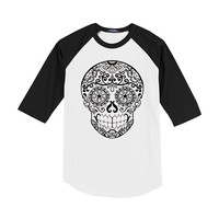 Adult Raglan Tattoo Skull Shirt Small Medium Large tshirt Mens Women tee Rocker Shirt Unisex Clothing S M L White Black baseball top