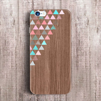 Geometric Wood iPhone 6 plus 4 5 s5 case, Samsung Galaxy S4 case S5 mini case triangle case colorful vintage cute Note 4 case 3 Gift [90]