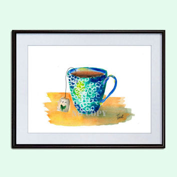 Tea Cup print kitchen decor blue green cup Watercolour Printable Wall Art Instant Download Digital Art Print