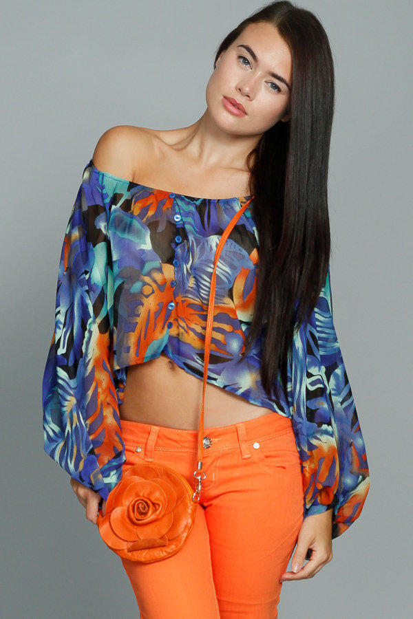 Abstract Print Loose Fit Blouse with Button Detailing