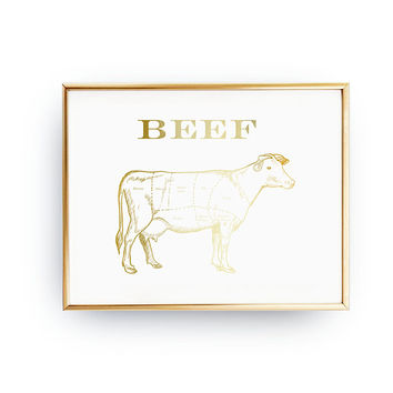 Beef Butcher Print, Real Gold Foil, Meat Cuts, Butcher Diagram, Kitchen Decoration, Beef Chart, Kitchen, Print, Typography Print, Food Print