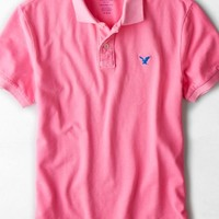 AEO Men's Solid Polo (Highlighter Pink)