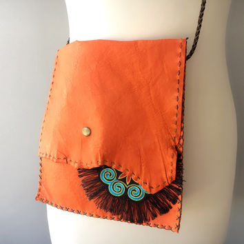 Orange Leather Bag, Messenger Bag