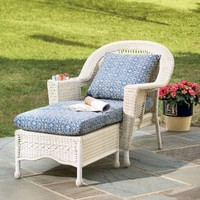 Prospect Hill Weather-Resistant Wicker Chaise Lounge, in Antique White