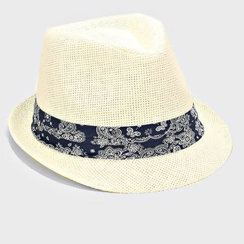 Womens Ivory Straw Fedora Hat Navy Paisley Band Accent Beach, Pool, Vacation, Summer Hat