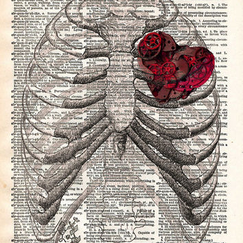 Steampunk clockwork heart in ribcage vintage dictionary page book art print