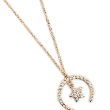 Star & Crescent Moon Pendant Necklace