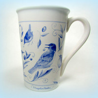 Marjolein Bastin Blue Birds Botanical Tall Mug with Leaves and Berries on White Background