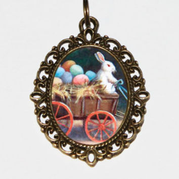 Easter Bunny Necklace, Rabbit Jewelry, Easter Eggs, Wagon, Bronze Oval Pendant