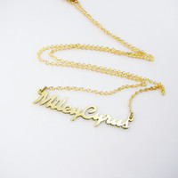 Miley Cyrus Retro font style Personal nameplate necklace in brass plating /18k gold/rose gold/silver/brass