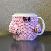 Mug cozy set. Porcelain mug. Hand knitted cozy with arms. Mug sweater. Tea cup set. Light pink Amethyst rhinestones brooch Mother's day gift