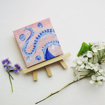 Under the Sea Miniature Canvas and Stand- Adorable Unique Tiny Painting