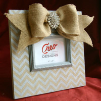 Burlap and Grey Chevron 4x6 Picture Frame Photo Frame Zig Zag Shabby Chic