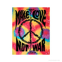 Make Love, Not War Tie Dye Tapestry Rainbow on Sale for $16.99 at The Hippie Shop