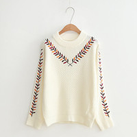 Buy Pichipichi Long-Sleeve Embroidered Knit Top | YesStyle