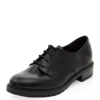 Black Chunky Cleated Sole Lace Up Shoes