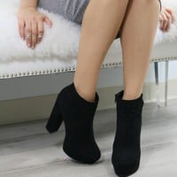 City Nights Black Suede Chunky Platform Ankle Boots