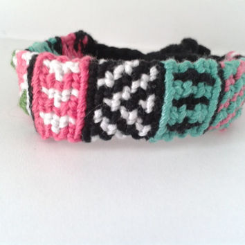 Multi-Coloured Tribal-Print Pattern Friendship Bracelet - Adjustable Hand-woven Embroidery Floss Bracelet