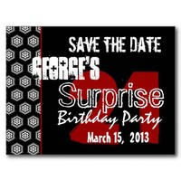 Modern Save the Date Surprise 21st Party Personalized Postcard