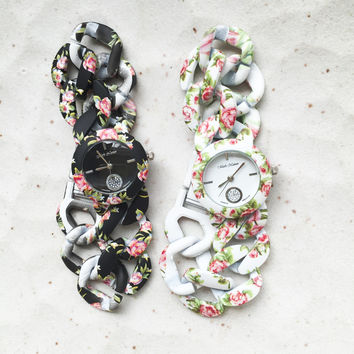 Flower Print Bracelet Watches #W67