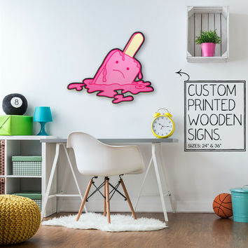 Melting Popsicle Man Trendy Dorm Room Teen Room Wall Art Unique Wood Sign Photo Booth Prop Home Decor Wedding Gift