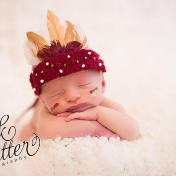 Indian, Indian Headdress, Seminole, Newborn Headdress, Indian, Newborn, Baby, Crochet, Feather Headdress, Photo Prop, Photography Prop