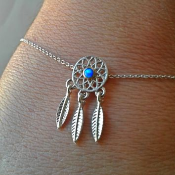 Cute Dream Catcher Blue Opal Center Bracelet Adjustable