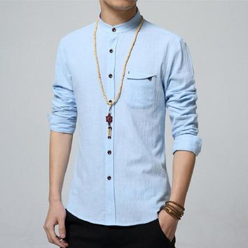 5XL Cotton Linen Men Shirt New 2017 Stand Collar Casual Male Shirt Slim Fit Mens Shirts Long-Sleeve Camisa Hombre MC6310