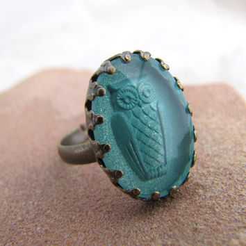 Glass Owl Ring - Antiqued Brass - Seafoam Vintage Glass - The Night Owl - Aqua Shimmer
