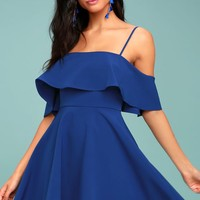 Waterfront Royal Blue Off-the-Shoulder Skater Dress