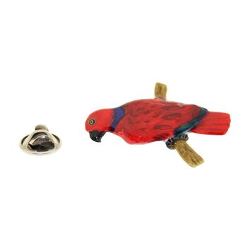 Red Parrot Pin ~ Hand Painted ~ Lapel Pin
