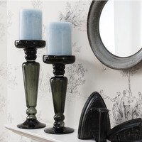 Melrose Grey Candlestick | Large Candle Holders | Grey Candle Sticks