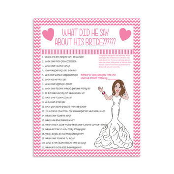 Bridal Shower Game  What Did He Say?  Couple Showers  Printable