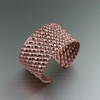 Double Corrugated Copper Cuff Bracelet - Copper Cuff -- Makes an Awesome 7th Anniversary Gift! - John S Brana Handmade Jewelry
