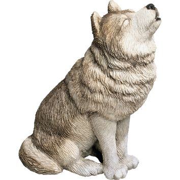 """Sandicast """"Mid Size"""" Howling Gray Wolf Sculpture"""