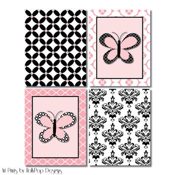 Nursery Prints Pink Black Nursery Art Prints Baby Girl Decor Butterfly Nursery Artwork Damask Nursery Wall Art Toddler Girls Room Wall Decor