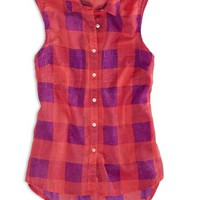 AEO 's Factory Sleeveless Plaid Shirt