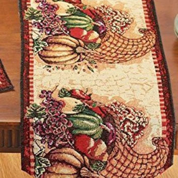Fall Thanksgiving Autumn Harvest Cornucopia Tapestry Table Runner