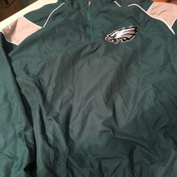 PHILADELPHIA EAGLES NFL 1/4 ZIP LIGHTWEIGHT PULLOVER GREEN JACKET SHIPPING