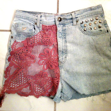 Im a DOLL light blue vintage GV Pink Lace Fringed 1960s High Waist Shorts