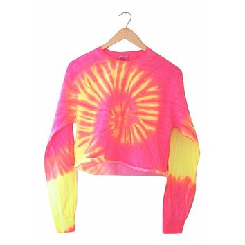 Tropical Neon Tie-Dye Cropped Long Sleeve Tee