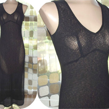 Vintage 90s EXPRESS Sheer Fitted Maxi Dress Overdress S/M Side Slit Sexy Grunge