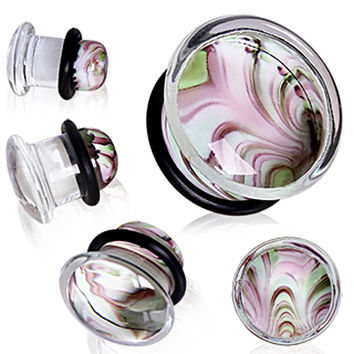 Pyrex Glass Single Flare Plug with Green & Purple Swirl