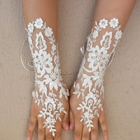 Long Ivory Wedding gloves, Floral glove, bridal gloves lace gloves fingerless gloves ivory gloves french lace gloves free ship