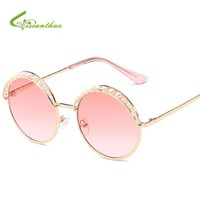2018 Steampunk Round Sunglasses Women Metal Frame Gradient Color Lens Sunglasses Pearl Designer Women Brand Sun Glasses